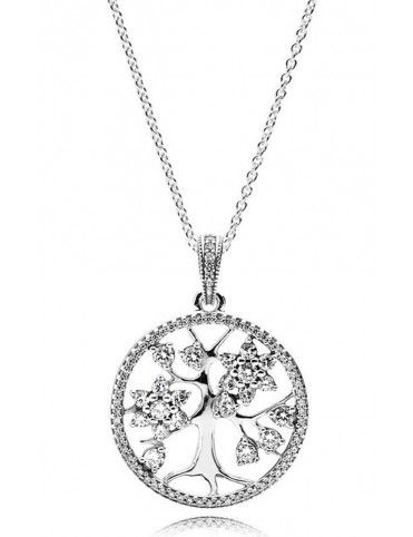 Collar Pandora plata Árbol familiar 390384CZ-80
