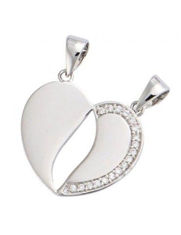 Collar Plata Mujer Corazón Partido 61ER055CZ