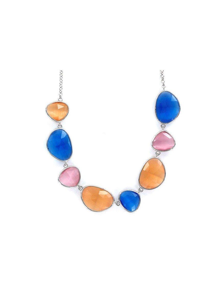 Collar Plata Mujer Piedras Colores 9097722