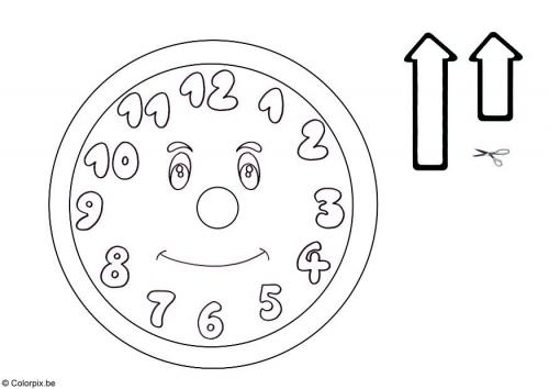 Reloj para colorear y recortar