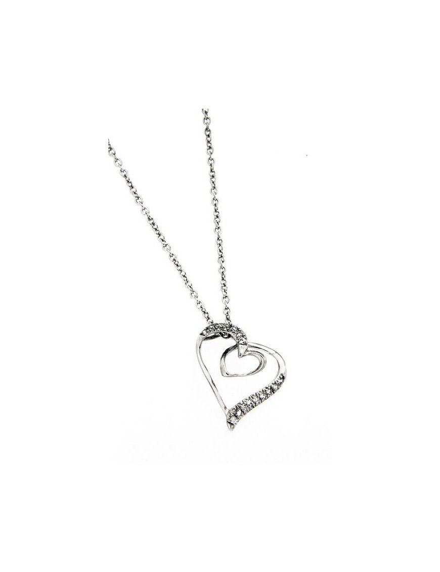 COLLAR PLATA CIRCONITAS CORAZON PS3638