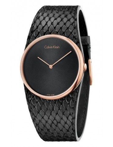 Reloj Calvin Klein mujer K5V236C1 Spellbound Rose Gold Black Lea
