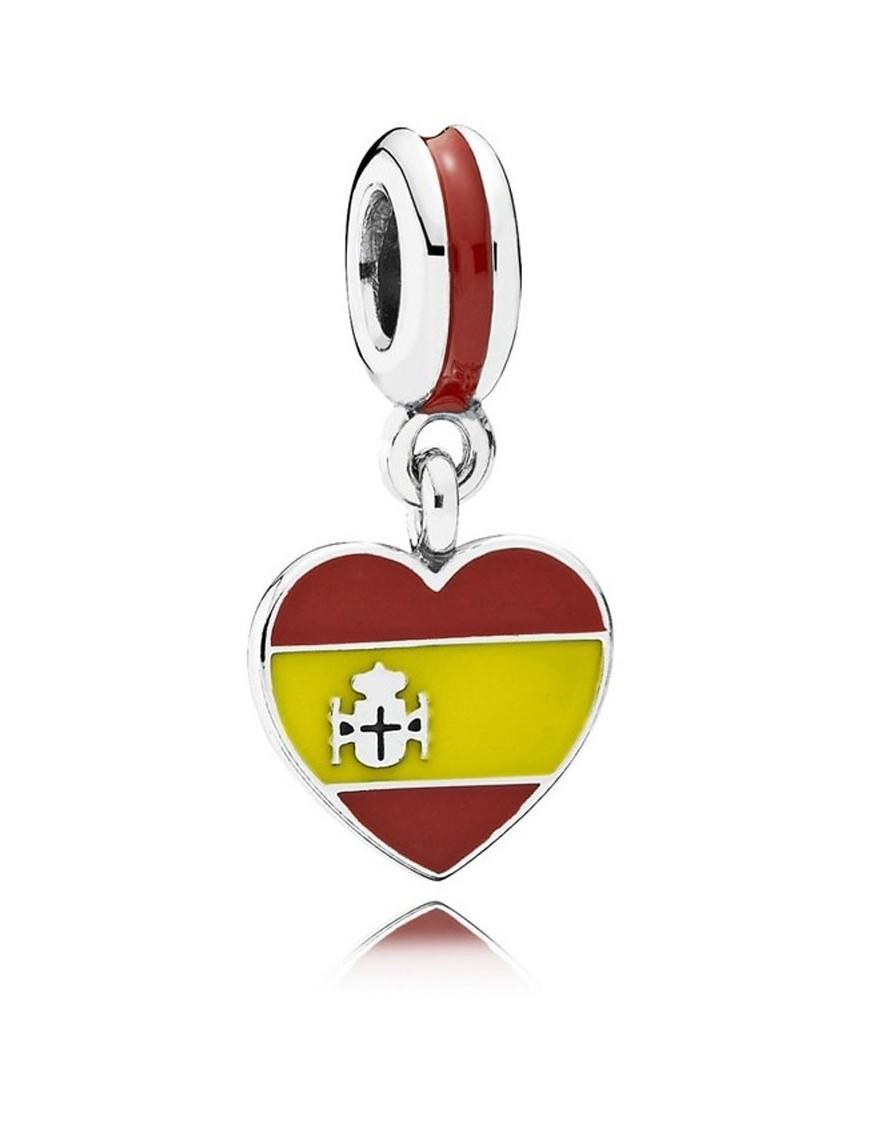 Charm Pandora Plata Bandera Corazón España 791550ENMX