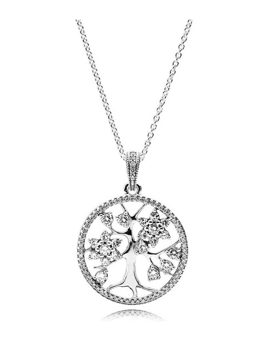 Collar Pandora plata Árbol familiar 390384CZ-80