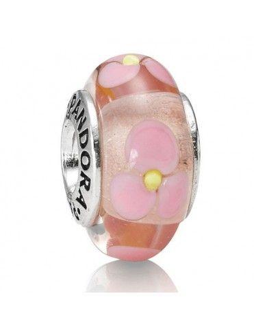 Charm Pandora Plata Murano Pink Flower 790619