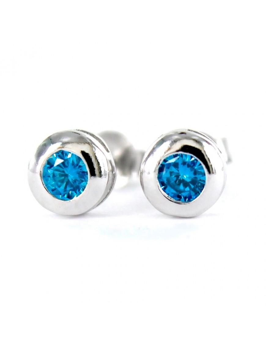 Pendientes Plata Mujer Chatón Azul Aguamarina 9097672