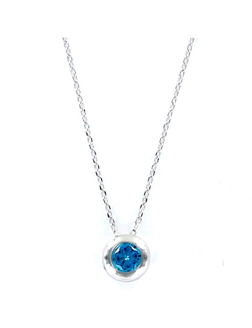 Collar Plata Mujer Chatón Azul Aguamarina 9097682