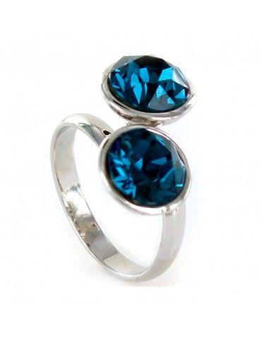Anillo Plata Mujer Discos Azul 9097775