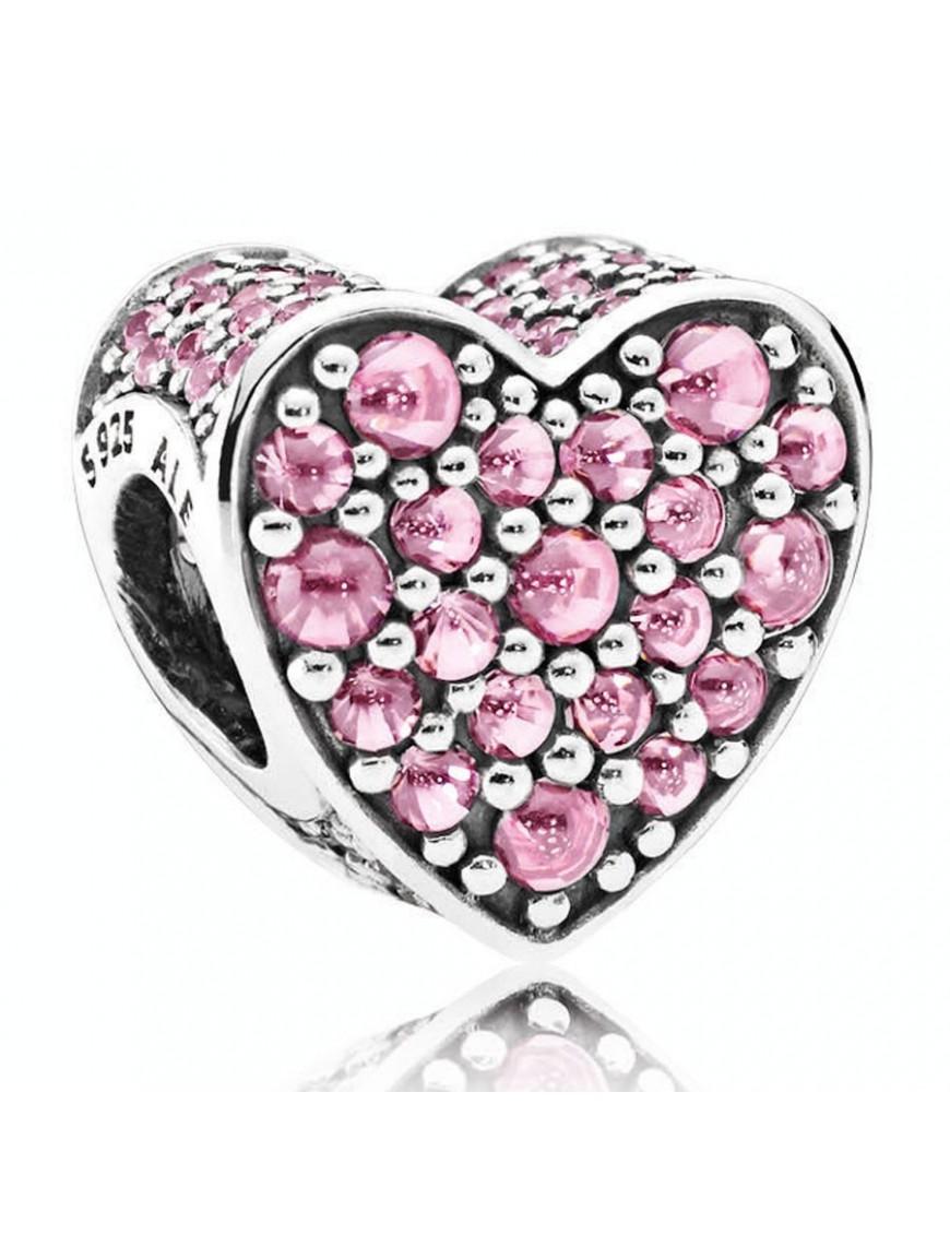 Charm Pandora Plata Corazón Deslumbrante Rosa 792069PCZ