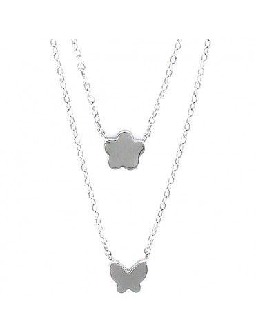 Collar Plata Mujer doble Cadena 9100182