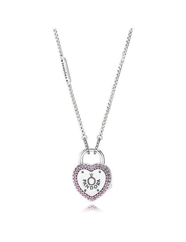 Collar Pandora Plata Candado Corazón 396583FPC-60