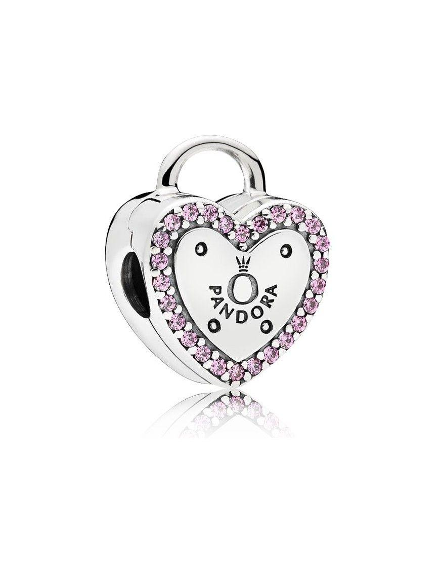 Clip Pandora Plata Circonita Candado 796556FPC Corazón