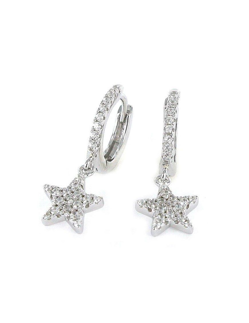 Pendientes Plata Mujer Aro Estrella 9101667