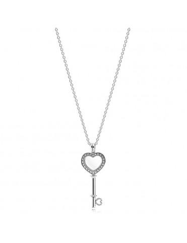 Collar Pandora Plata Locket llave corazón 396581CZ-80&796567