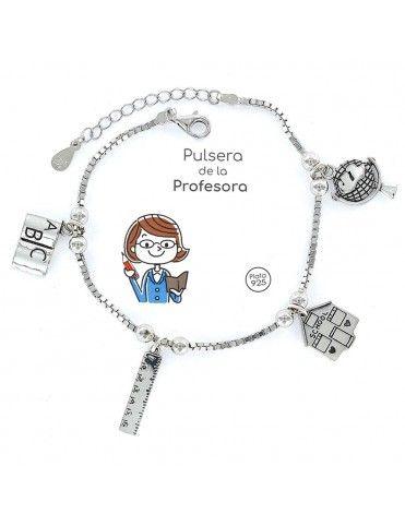 Pulsera Plata Mujer Profesora 4 colgantes 9101770
