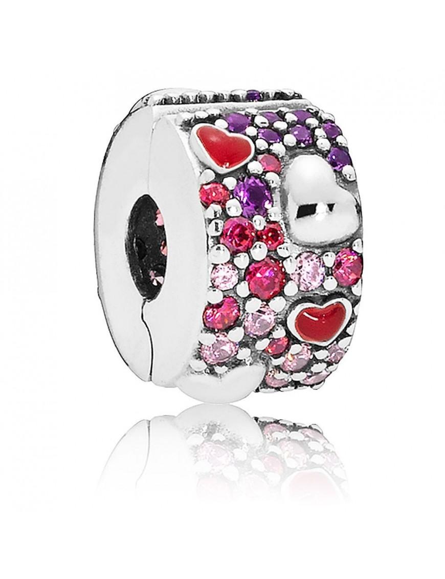 Clip Pandora Plata corazones de amor asimétricos 797838CZRMX