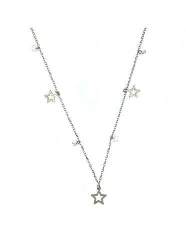 Collar Plata circonitas y estrellas colgantes niña 026535-1-1-1