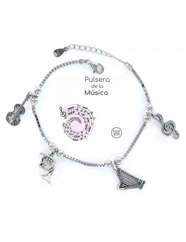 Pulsera plata Mujer Música 9101775