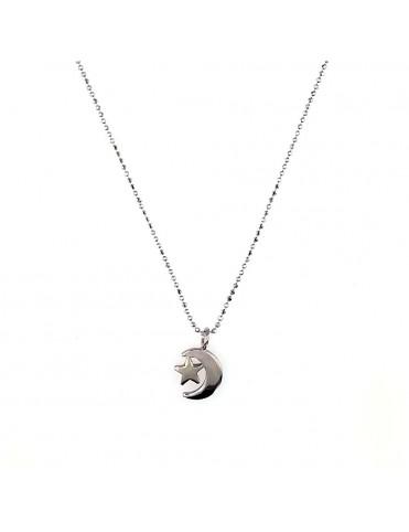 Collar Plata luna con estrella mujer 026706-1-1