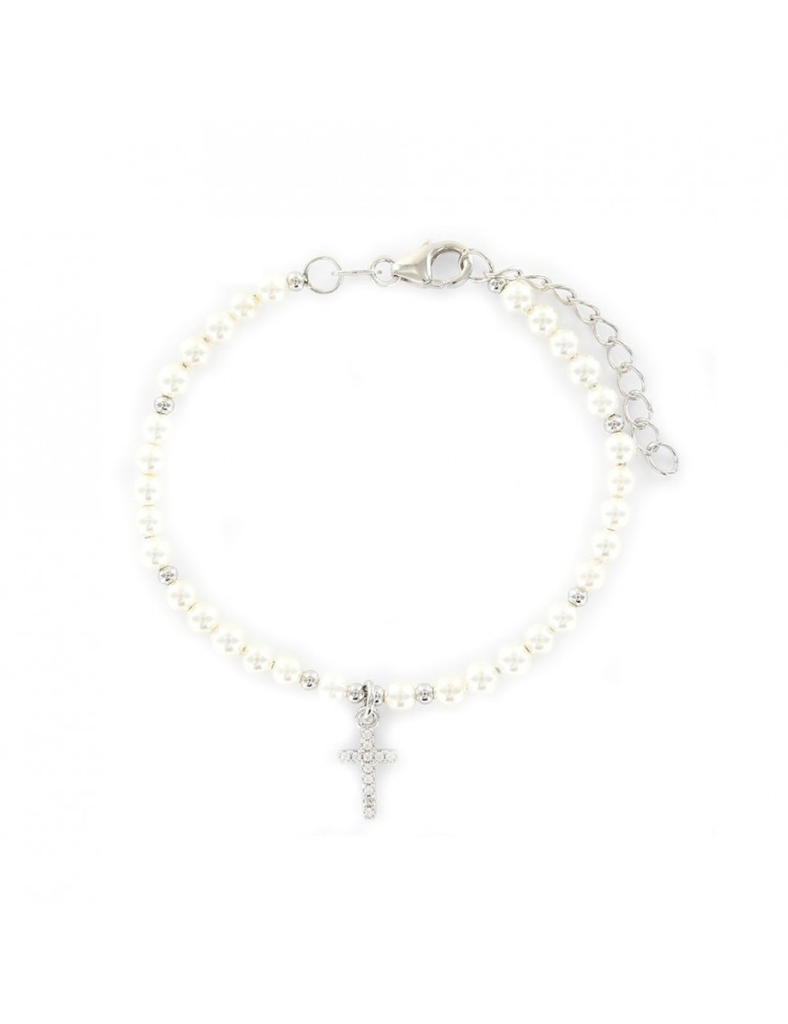 Pulsera Plata Niña perlas y circonitas 9106104