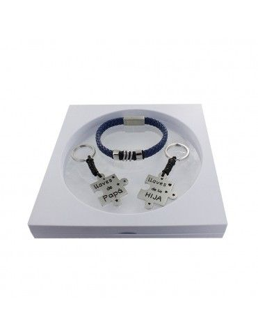 Comprar Pack pulsera de cuero + 2 llaveros puzzle padre e hija 9106576 online