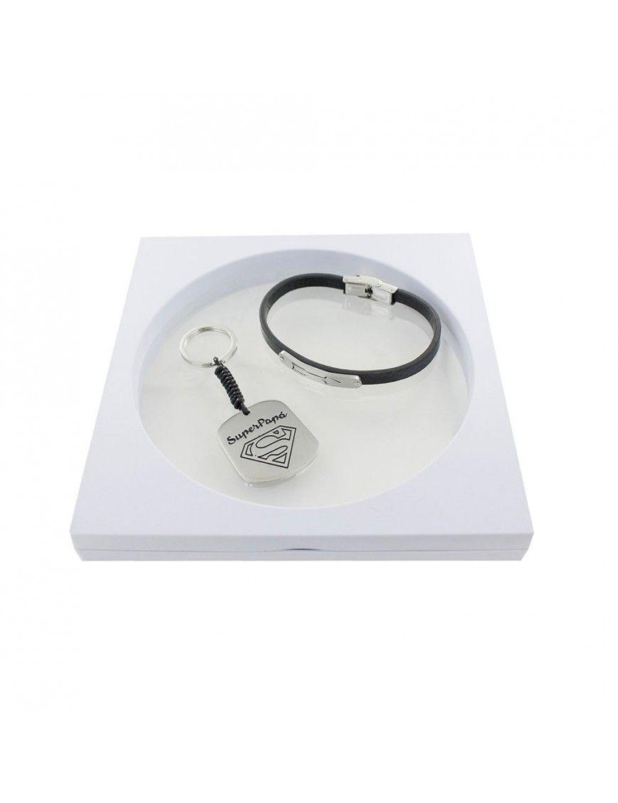 Pack pulsera de cuero + llavero superpapá 9106606