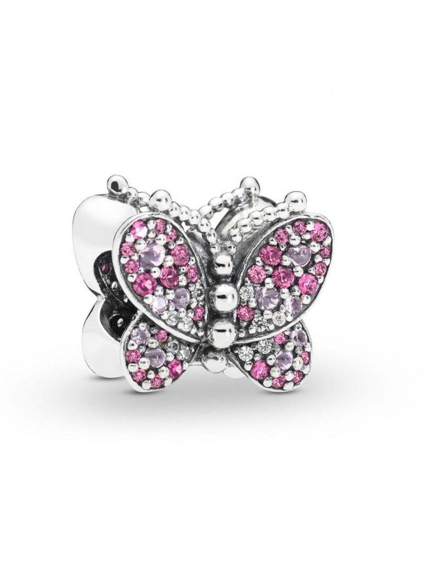 Charm Pandora Plata Mariposa Rosa Deslumbrante 797882NCCMX