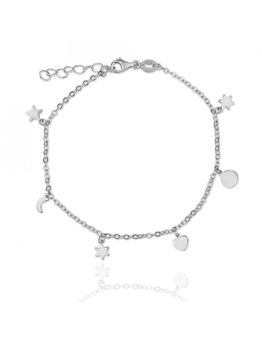 Pulsera Plata corazón estrella Mujer 115358