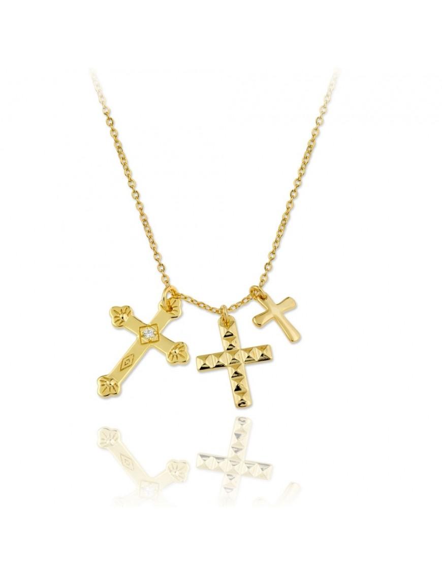 Collar Plata Mujer dorada 3 cruces 174549