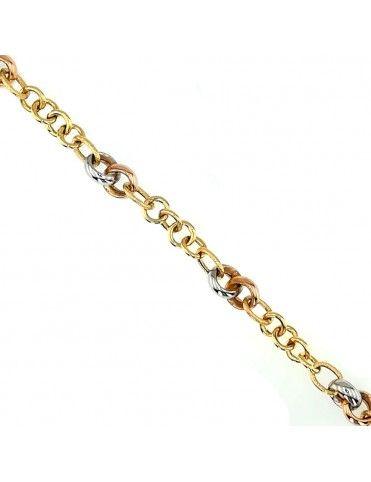 Pulsera 3 colores Oro 18K hueca 458-01217