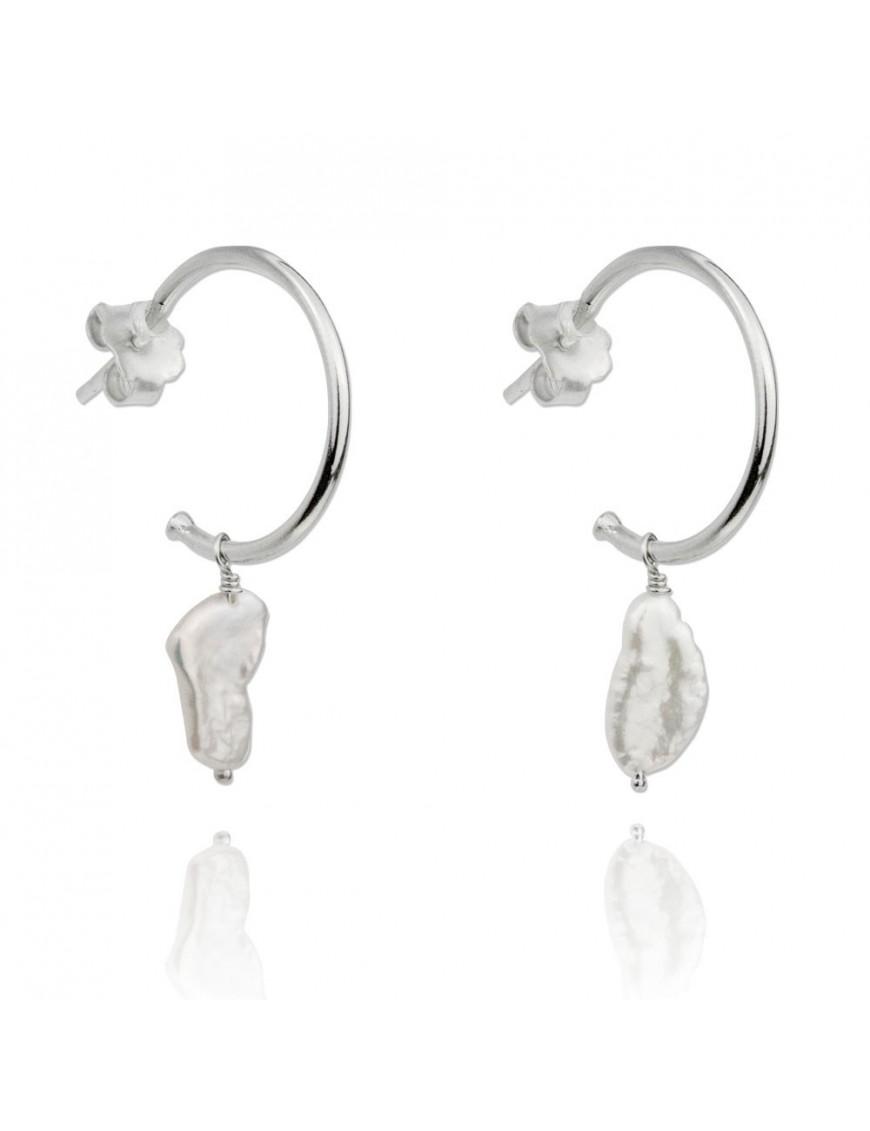 Pendientes Plata Mujer Aro perlas 151631