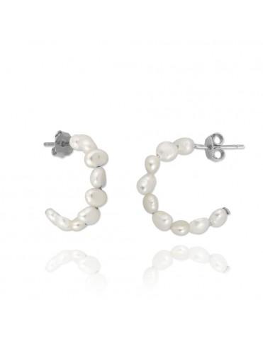 Comprar Pendientes Plata Mujer Aro perlas 151671 online