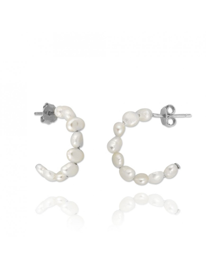 Pendientes Plata Mujer Aro perlas 151671