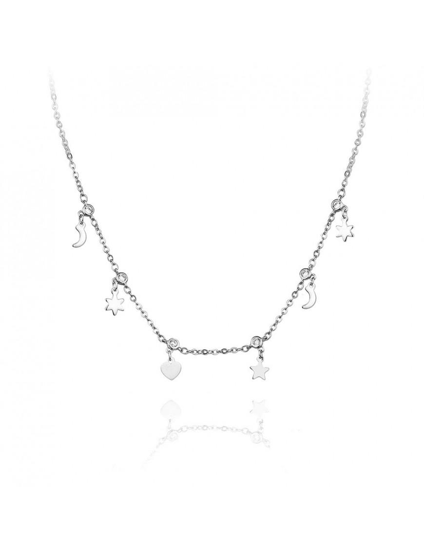 Collar Plata Mujer luna y estrella 174647