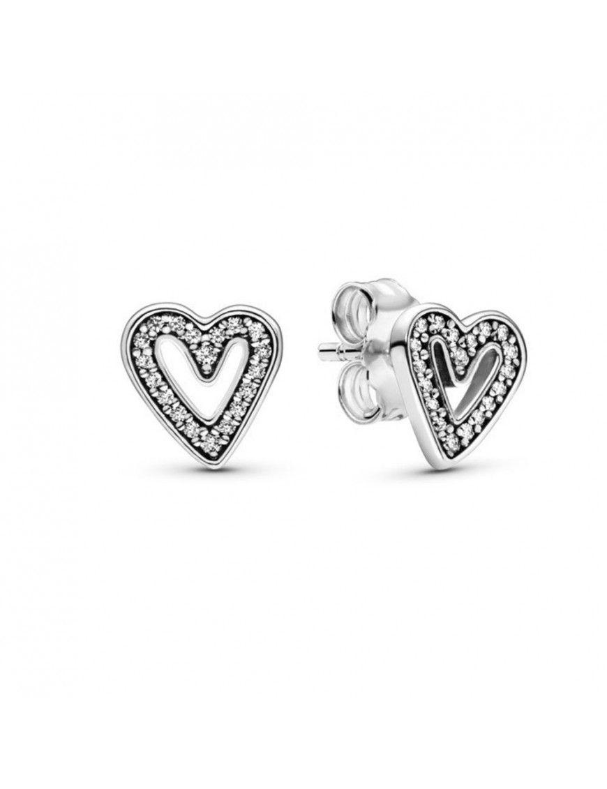 Pendientes Pandora Plata corazones con circonitas 298685C01