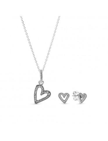 Set Pandora plata collar y pendientes 298685C01&398688C01 Corazones Brillantes