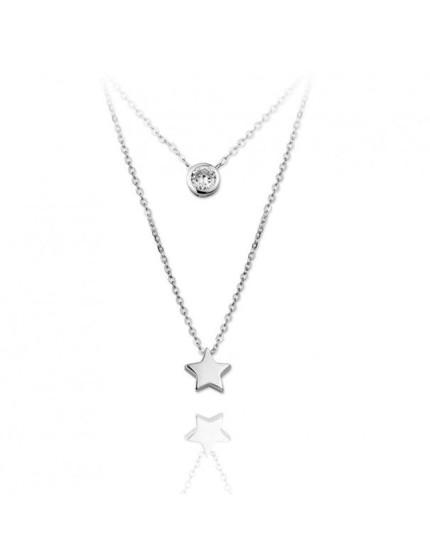 Collar doble Plata Mujer estrella y chatón 174565