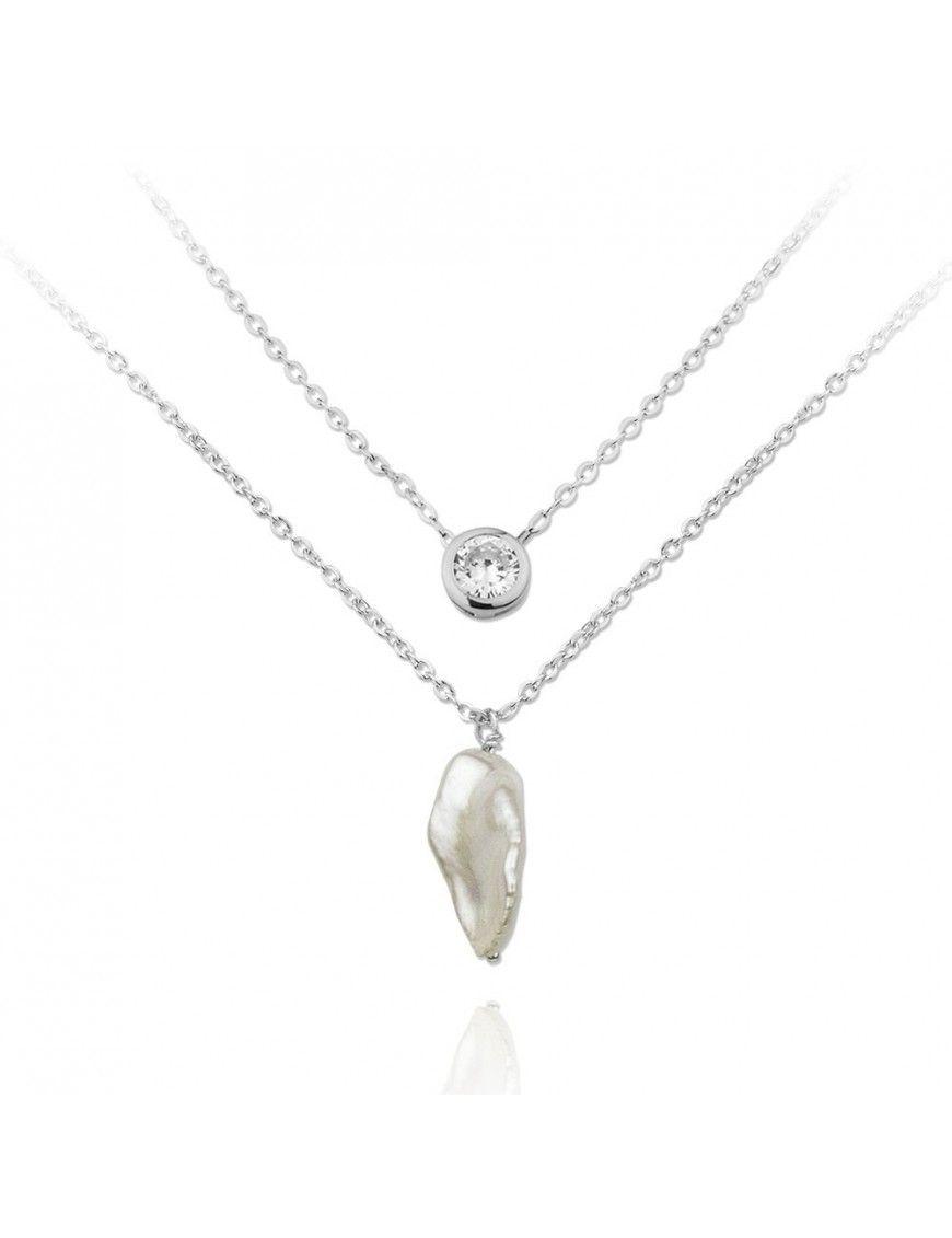Collar doble Plata Mujer perla natural y chatón 174854