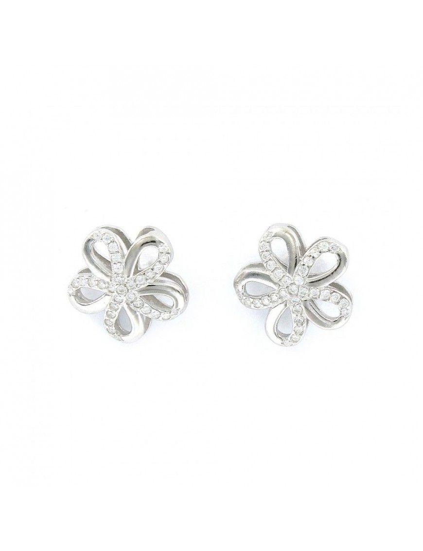 Pendientes Plata Mujer Flor circonitas 9106858
