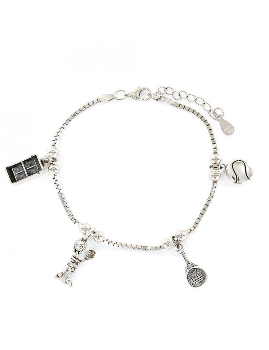 Pulsera plata Mujer colgantes pádel 9108154