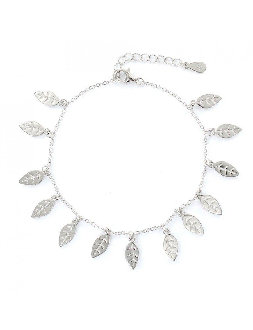 Pulsera plata Mujer colgantes hojitas 9108263