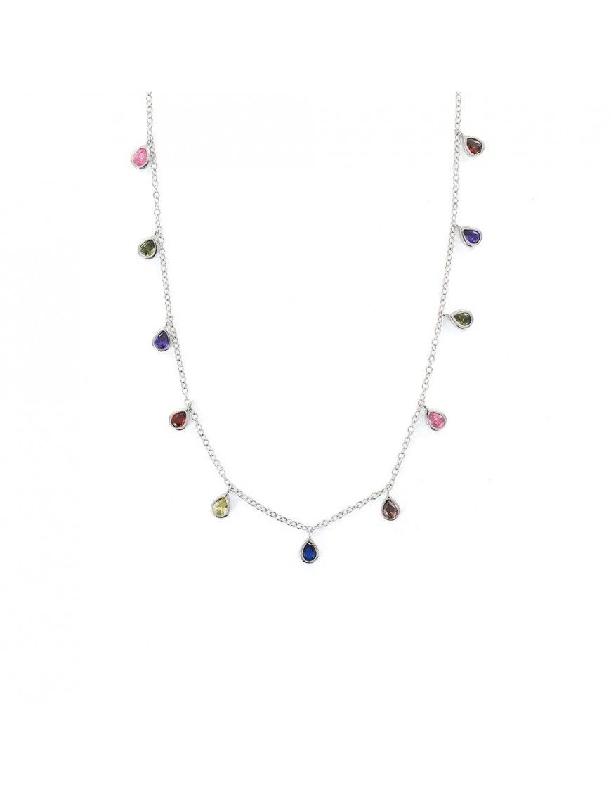 Collar plata Mujer gotas multicolor 9108280