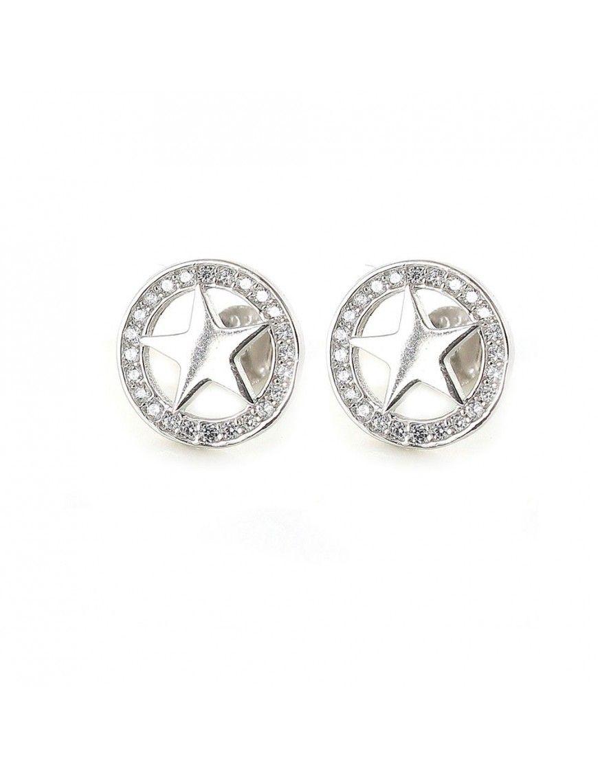 Pendientes Plata Mujer círculo estrella 9108458
