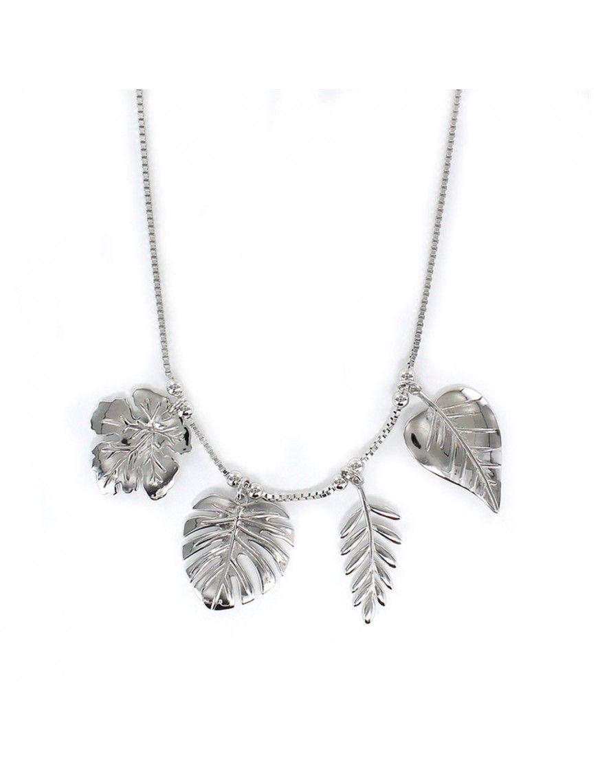 Collar plata Mujer cuatro hojas 9108703
