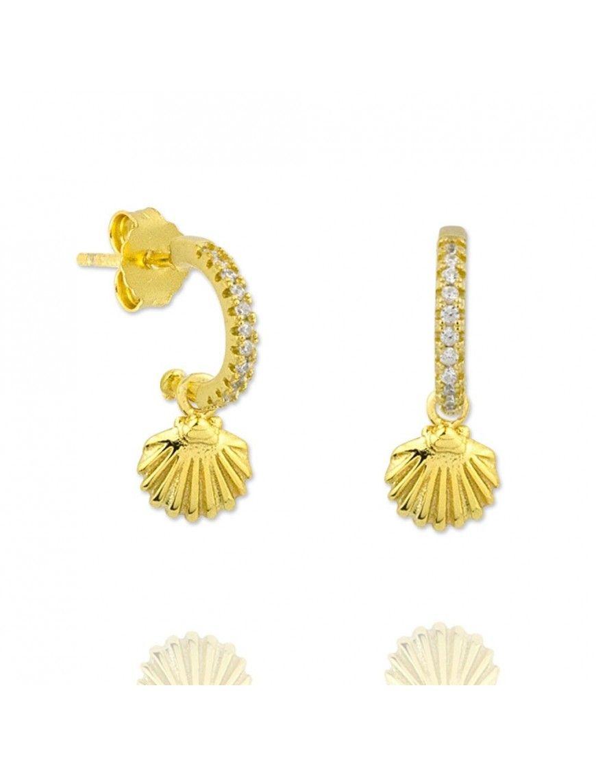 Pendientes plata dorada concha 151764