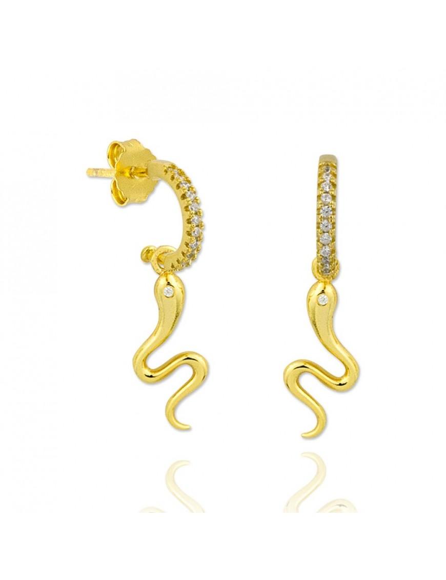 Pendientes plata dorada serpiente 151768