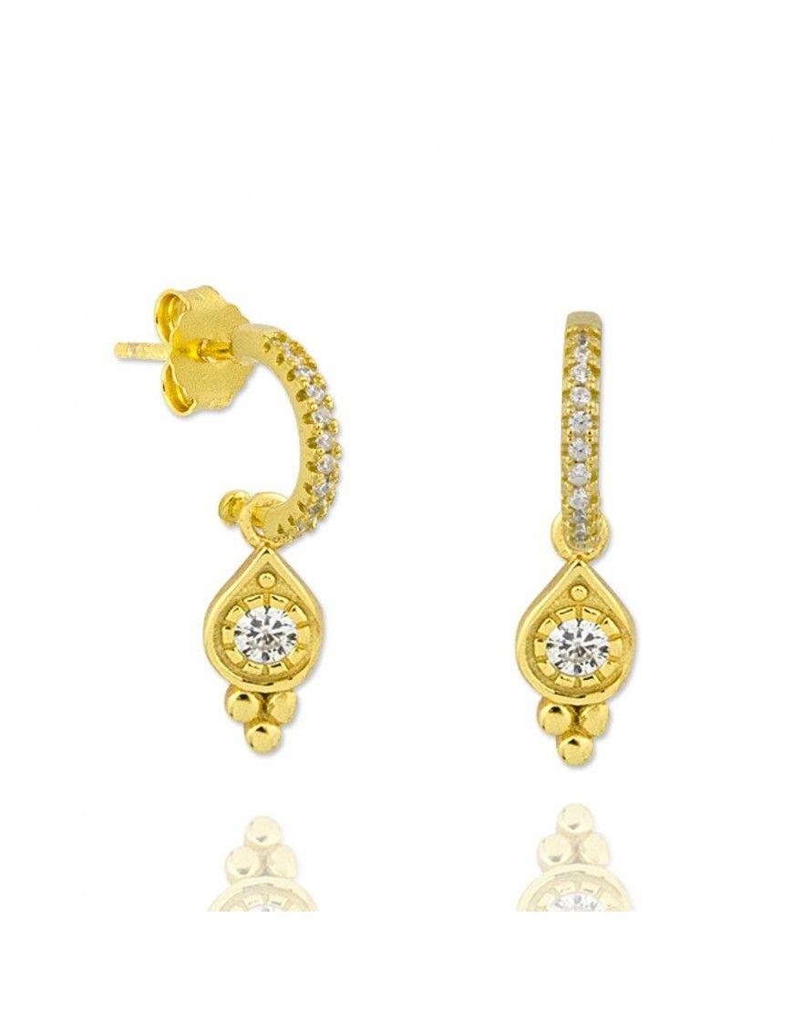 Pendientes de plata dorada con colgante 151772