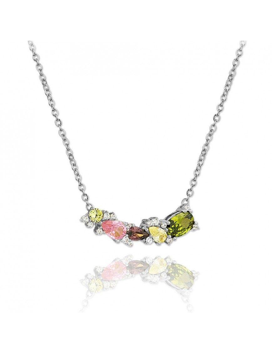 Collar plata con piedras de colores V00127