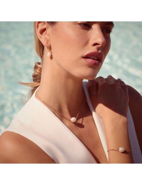 Pendientes Anartxy acero dorado con perla BPE098