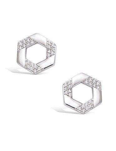 Pendientes plata hexagonales 21HW0030CZ
